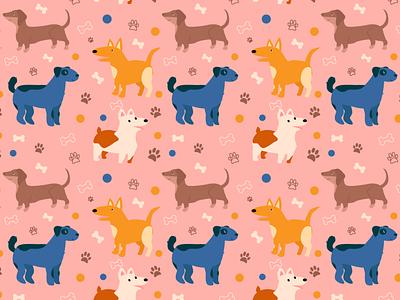 pattern dogs cute pattern dogs illustration