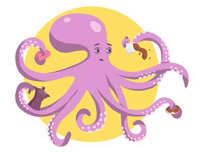 purple octopus donut coffee cup cute sleepy purple octopus purple octopus illustration