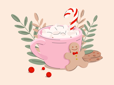 new year cocoa biscuits gingerbread man cocoa new year 2021 new year new year cocoa illustrator adobe illustration illustration