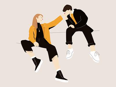 love story lovers couple illustration portrait girl boy girl cute vector adobe illustration illustrator illustration