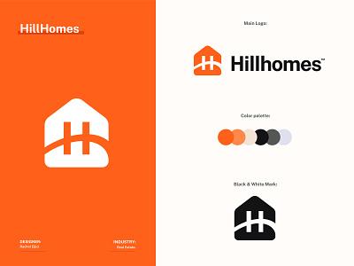 Hillhomes logo design! black and white color palette mark symbol graphic design icon brand identity br branding logo design logo real estate branding