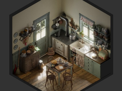 Vintage kitchen - isometric environment still life isometric archviz 3d blender