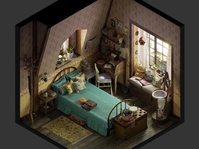 Vintage bedroom - Isometric