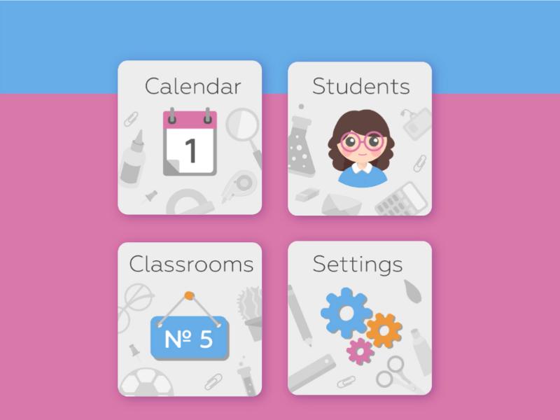 """Teacher's assistant"" app. Main menu vector app teacher education school ui application"