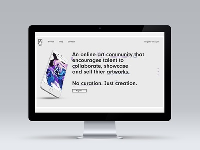 Conceptual work for an Art Aggregator Website