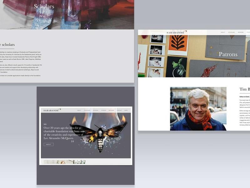 Sarabande Foundation (Lee Alexander McQueen) website design site design typography layout fashion brand mcqueen websites charity fashion