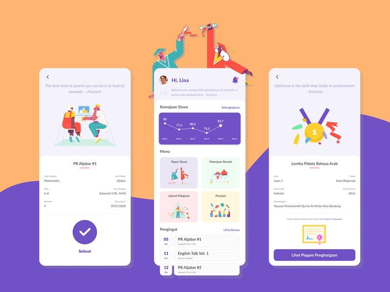 Student's Study Report for Parent mockup app ui ux design ui inspiration figmadesign uiux ux design ui design ux ui