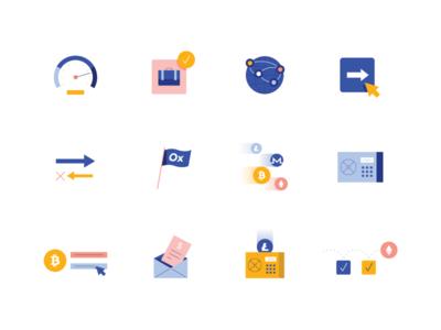 Crypto Icons cyrptocurrency branding design ui flat geometric app tech vector icon illustration
