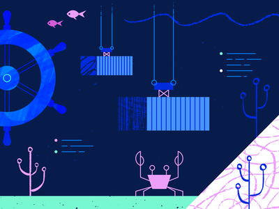 Kubernetes Editorial Illustration web ocean geometric app tech flat texture vector icon illustration