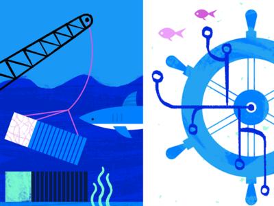 Kubernetes Illustration #2 web ocean geometric app tech flat texture vector icon illustration