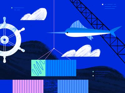 Kubernetes Illustration #3 web ocean geometric app tech flat texture vector icon illustration