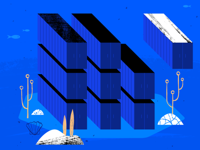 Containers To Kubernetes web ocean geometric app tech flat texture vector icon illustration