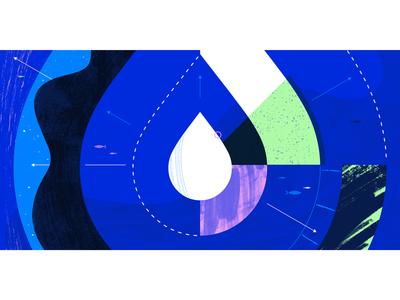 Droplet Scaling web ocean geometric app tech flat texture vector icon illustration
