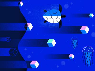 GKE vs DOKS web ocean geometric app tech flat texture vector icon illustration