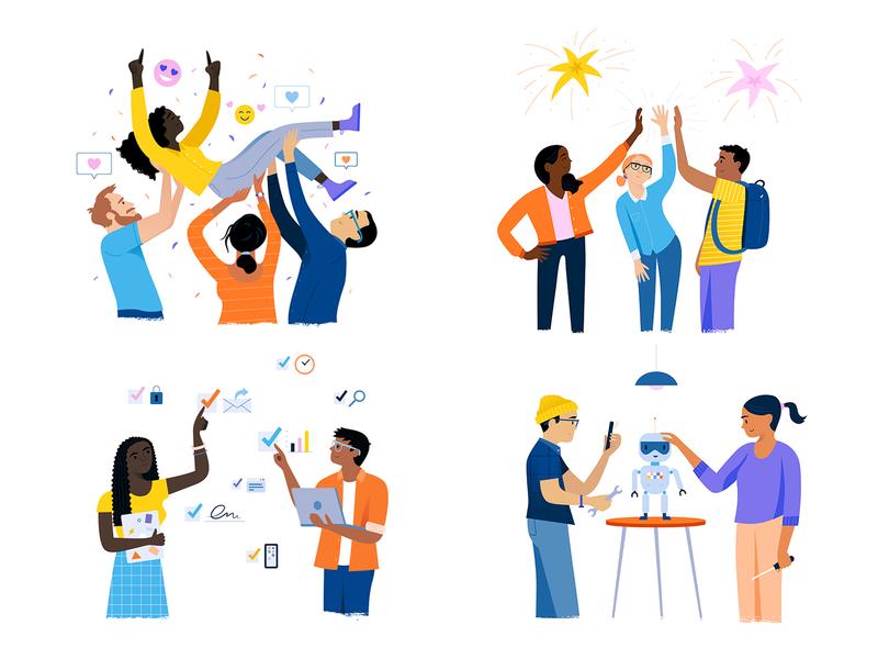 Company Values branding design tech flat vector icon illustration concept company branding people company values