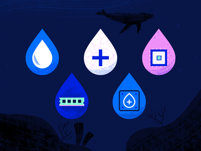Droplet Plans web ocean geometric app tech flat texture vector icon illustration