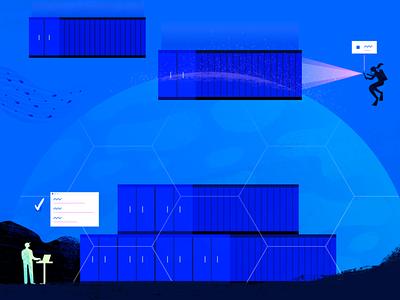Container Registry web ocean geometric app tech flat texture vector icon illustration