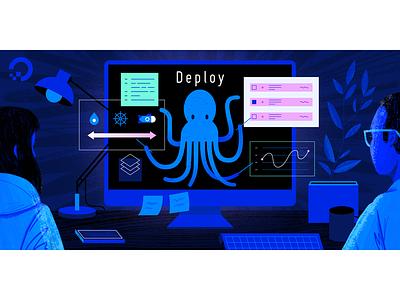 Deploy web ocean geometric app tech flat texture vector icon illustration