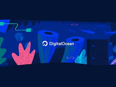 DO YouTube Banner tech youtube ui water web ocean flat texture vector icon illustration