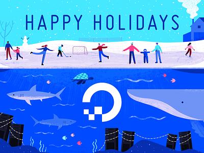 Happy Holidays holidays ice snow winter holiday geometric app tech flat texture vector icon illustration
