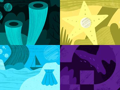 YouTube Thumbnails Set 3 web ocean geometric app tech flat texture vector icon illustration