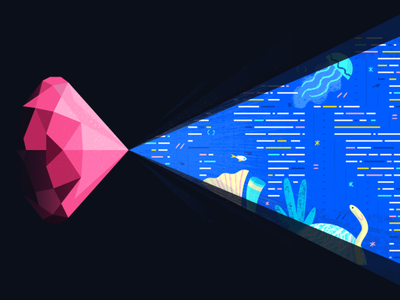 Ruby branding ui web ocean app geometric ruby on rails ruby vector icon illustration