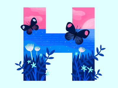 Hollie's Hub For Good lettering logo butterfly type lettering geometric app tech flat texture vector icon illustration