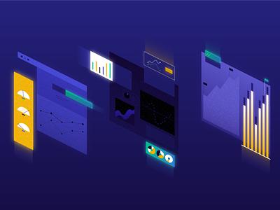 Hero Image V1 gradient web geometric app tech flat texture vector icon illustration