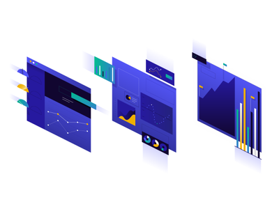 Hero Illustration v2 server gradient geometric app tech flat texture vector icon illustration
