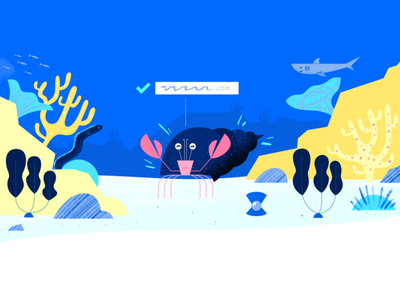 Domain Successful header email crab ocean water ui logo design app tech flat texture vector icon illustration