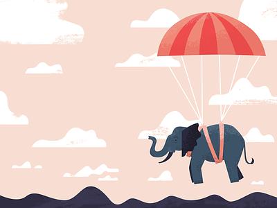 Dumbo Drop! clouds texture illustration sky elephant
