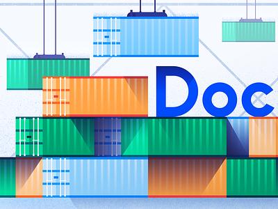 Docker Install shipping 2d scene docker icon shadow vector flat illustration container