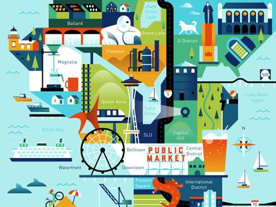 Visit Seattle Map by Alex S Mostov Dribbble