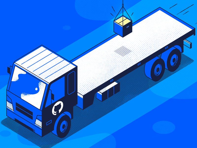 Github Actions halftone car truck isometric ui app tech flat vector texture icon illustration