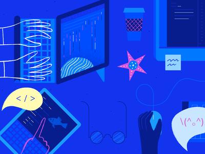 Community Background Illustration branding design ui art server geometric ocean app tech flat vector texture icon illustration