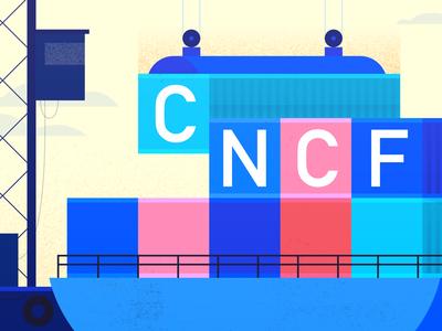 CNCF Banner boat ship branding server web water ocean geometric tech flat vector texture icon illustration