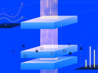 Kubernetes Monitoring water geometric app ocean tech flat vector texture icon illustration
