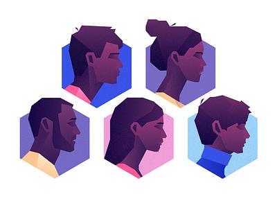 Faces purple portrait face people web geometric app tech flat vector texture icon illustration