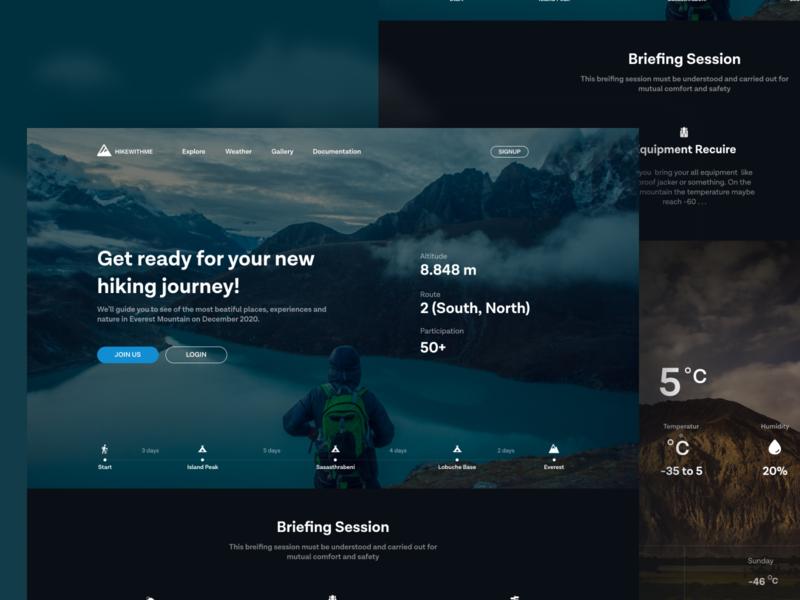 HIKEWITHME Web Design landingpage hiking webdesign design