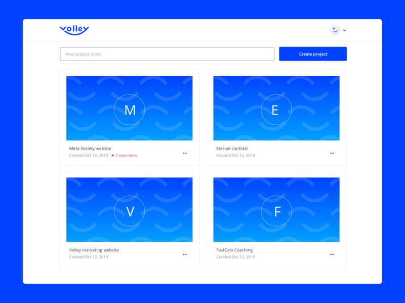 Volley is on Product hunt! simple minimal app blue search feedback form website developer tools ux dashboard comment web app feedback design tool volley