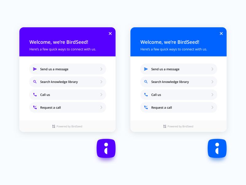 BirdSeed panel button exploration vibrant fresh minimal simple modern clean ux message help widget chatbot chat intercom drift birdseed panel button