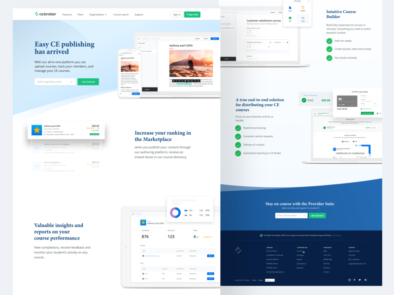 CE Broker NOW marketing pages course builder dashboard finance green fresh modern clean web design elearning builder clean education cel ce broker course