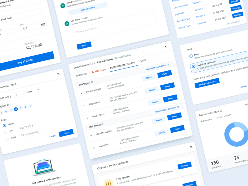 Healthcare education components activity date banking user experience userinterface course forms button clean graphic pricing popup payment method modal widget design app web design ui design system components