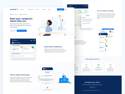 New EverCheck Wallet overview page icons website health license mobile colorful website illustration healthcare send hospital clean ui clean wrb design