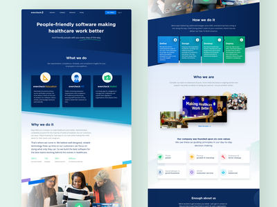 EverCheck About page exploration colorful doctor icons design clean marketing agency stripes evercheck ux ui software healthcare about web design