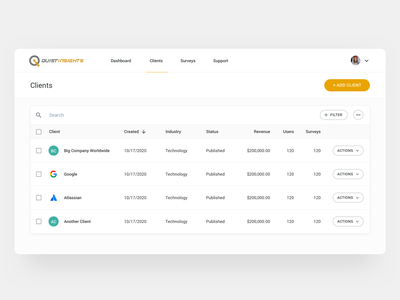 Clients table material dashboard minimal clients list clean uidesign ux tabke