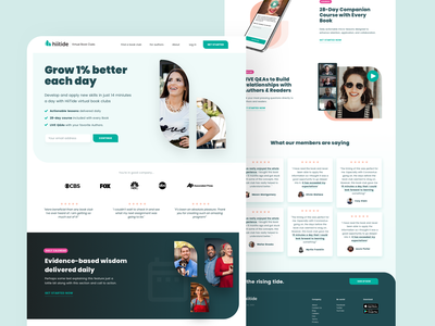 HiiTide homepage clean ui website design studio positive pink website design web design moodern clean book book club hiitide