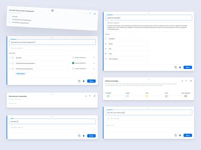 Survey components cms builder button sketch forms design system component design component library simple blue clean web interface dashboard widget question quiz survey components