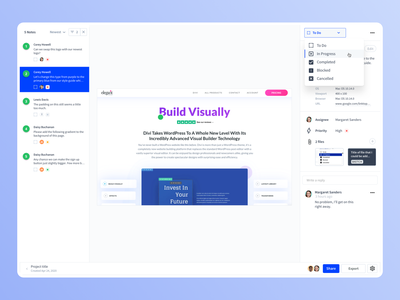 Volley - Project detail interface jira trello asana flow clean web app uiux dropdown ui dropdown task inbox dashboard volley