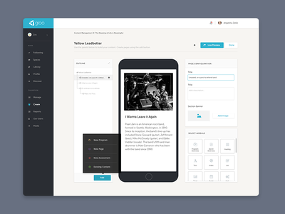 Content Builder sitemap content authoring wysiwyg dashboard create popover build scrolling form phone mobile buttons